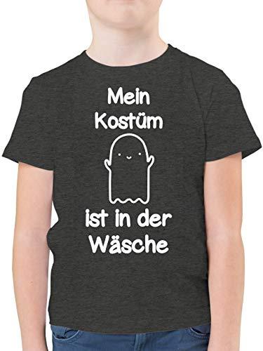 Halloween Kind - Mein Kostüm ist in der Wäsche Gespenst - 152 (12/13 Jahre) - Anthrazit Meliert - Mein Kostüm ist in der Wäsche - F130K - Kinder Tshirts und T-Shirt für Jungen