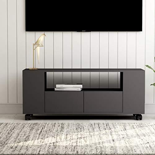 Soporte de TV, Mueble de TV Unidad de TV Consola de Almacenamiento Mueble de televisión Soporte Multimedia Mueble de TV Gris 120x35x43 cm Aglomerado