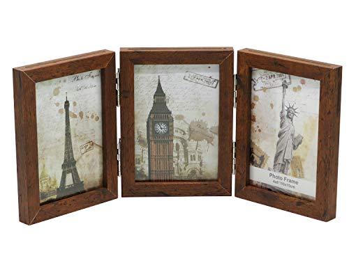 Smiling Art klappbarer Bilderrahmen aus MDF Holz mit Glas für 6 Fotos (Braun 360°, 6x10x15 cm)