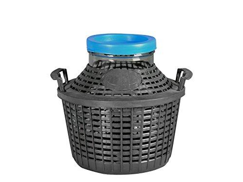 Home Korbflasche aus Glas mit Kunststoffkorb, Grün/Braun, 5 Liter