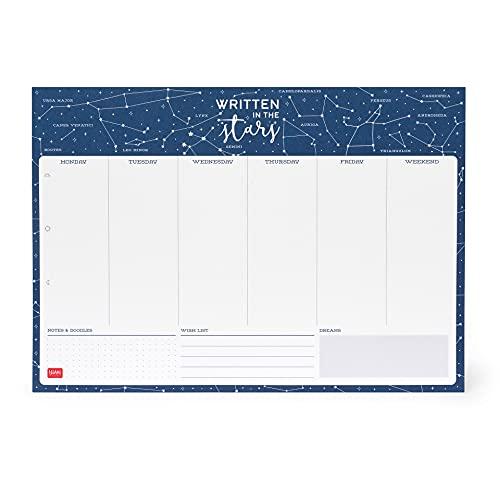 Legami - Planning da Scrivania , Smart Week, 34x24 cm, 55 Fogli Staccabili, Tema Stars, per Annotare Progetti, Appuntamenti, Impegni, Carta 80 g/m², Made in Italy
