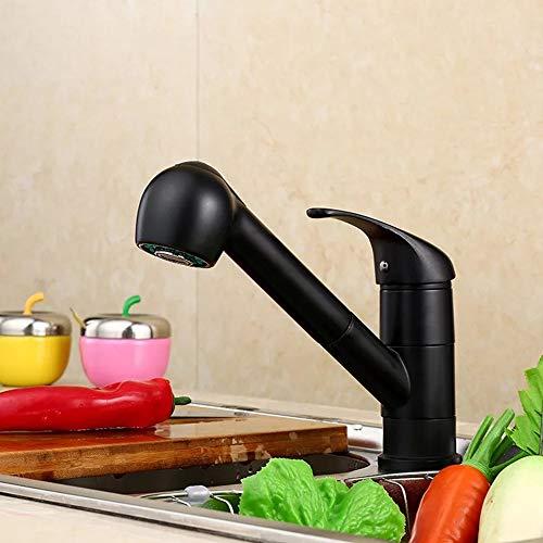 L.W.S Tap DE Agua Grifo Cocina Cuarto de baño Grifo Caliente y frío Agua mezclada Llave de Cobre Pintura Soldadura Classic Black
