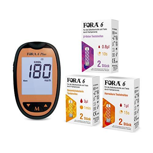 ForaCare 6 plus Blutzuckermessgerät (mg/dl) set mit 2 Stück β Keton Teststreifen, Harnsäure-Teststreifen (UA), Gesamtcholesterin-Teststreifen (TCH)