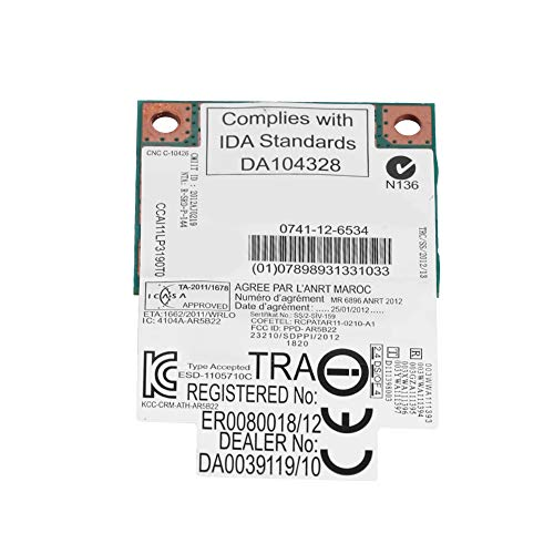 Tonysa Mini-Drahtlosband, 2,4 G / 5 GHz AR5B22, 300 MBit/s, Bluetooth 4.0, WLAN, Mini-PCIe-Karte, drahtlos, Übertragungsrate: 300 Mbit/s, Dualband: 2,4 G / 5 GHz.