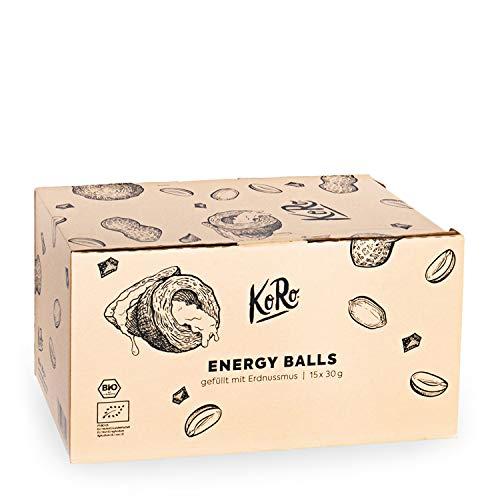 KoRo - Energy Ball Erdnuss 15 x 30 g - Powersnack für zwischendurch aus Datteln mit leckeren Erdnussmus ohne Zucker