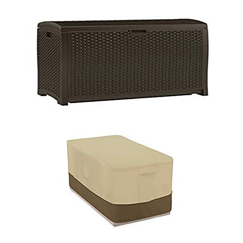 Suncast DBW9200 Mocha Resin Wicker Deck Box 99Gallon with Deck Box Cover  Durable and WaterResistant Patio Furniture Cover