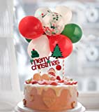 Christmas Cake Topper Red Green And White Confetti Balloons With Red Glitter Merry Christmas Cake...