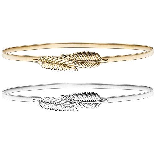 LYTIVAGEN 2 PCS Hojas Metal Elástico Cintura, Mujer Cinturón en Forma de Hoja,Cintuón Estrecho para Mujer para Vestido, Fiesta, Boda (Dorado y Plata)