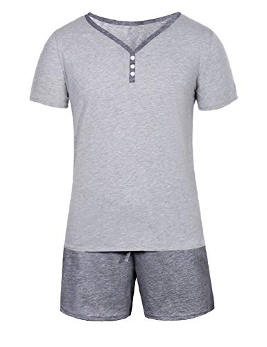 Aibrou Pijamas Hombre Verano Corto de 100% Algodón Conjuntos de Pijamas para Hombre Mangas Cortas