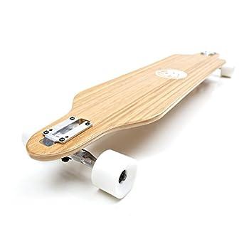 White Wave Bamboo Longboard Skateboard Complete  Cruiser