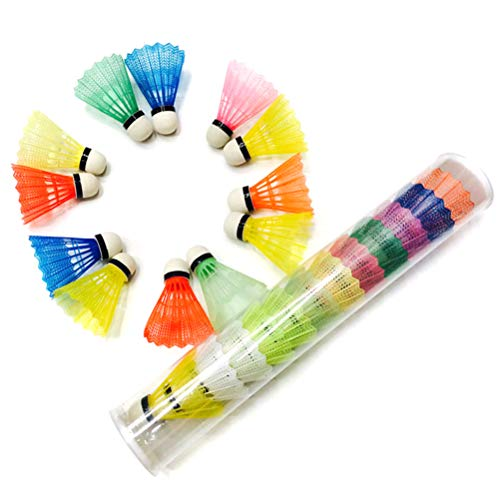 KUTO - Juego de 12 pelotas de bádminton de plástico portátil para entrenamiento al aire libre, suministros para deportes al aire libre, color blanco, SO06680275_RC-AM1315KU, Color aleatorio.