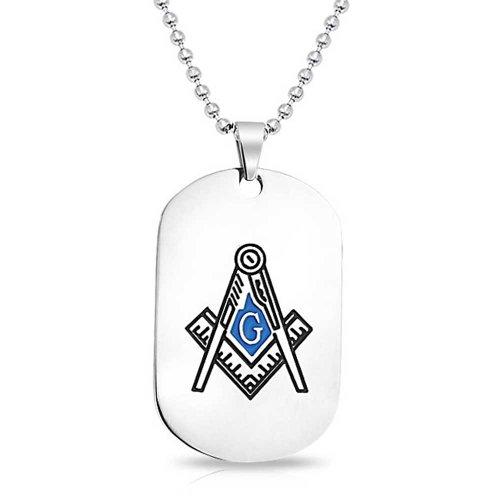 Freimaurer Masonic Kompass Symbol Hundemarke Schwarz Blau Silber Ton Anhänger Für Herren Aus Edelstahl Wulst Kette