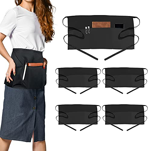 Yiclick 6 Pack Black Waterproof Server Waitress Half Aprons for Women Men with Pockets, Kitchen Accessories Apron for Waist Waiter Chef, for Cooking BBQ Grill Grilling