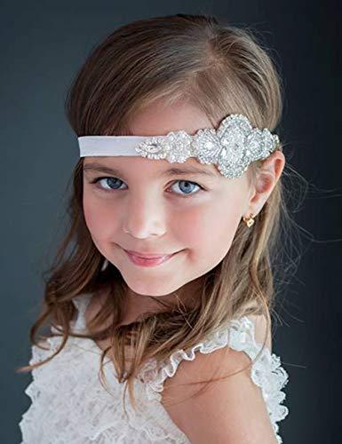 Baptême Fleur Serre-tête Cheveux Blancs Bande pour baptême mariage avec strass