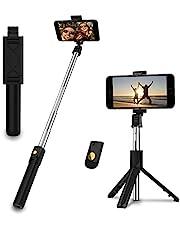 EasyULT Bastone Selfie Treppiede, 3 in 1 Estensibile Portatile Selfie Stick, Rotazione con Telecomando Wireless Rimovibile Bluetooth per Samsung/Huawei e Altri Android e iOS 4.7-6 Pollici-Nero