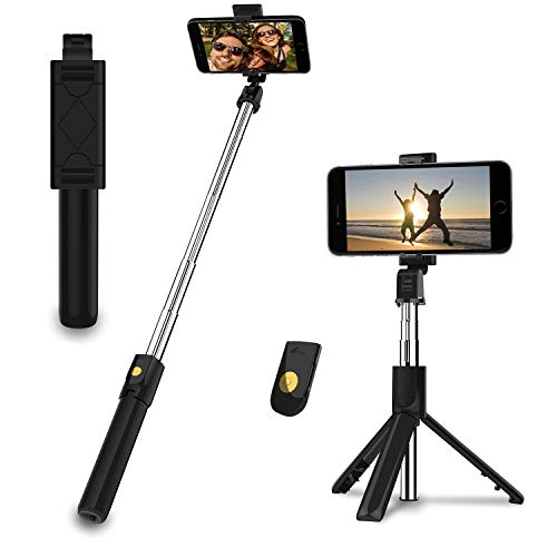 EasyULT Bastone Selfie Treppiede, 3 in 1 Estensibile Portatile Selfie Stick, Rotazione con Telecomando Wireless Rimovibile Bluetooth per iPhone/Huawei e Altri Android e iOS 4.7-6 Pollici-Nero