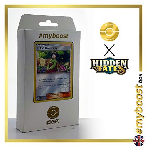 Erika's Hospitality (Hospitalité d'Erika) 56/68 Holo Reverse - #myboost X Sun & Moon 11.5 Hidden Fates - Coffret de 10 Cartes Pokémon Aglaises