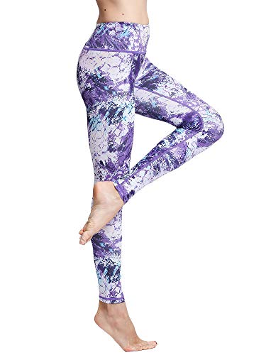 FLYILY Mallas Deportivas Mujer Pantalones impreso Leggings Deportes para Running Yoga Fitness Gym(6-Purple,S)