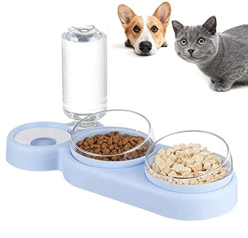 auvstar 3in1 Katzennäpf Hundenäpf,Futterschüssel Katze Hunde und Trinknapf,Futterstation für Katzen und Hunde,15° Geneigte Haustier Fressnapf für Nass und Trockenfutter oder auch Leckerlis (Blau)
