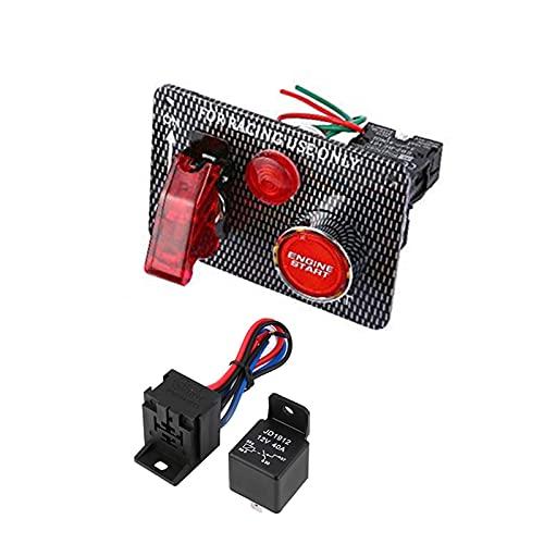 JIAQING 2In1 Peine Carring Carring Coche Palla de Encendido Panel del Interruptor de Encendido 12V Botón de Inicio del Motor de Inicio con el Interruptor de la Fibra de Carbono del LED Rojo