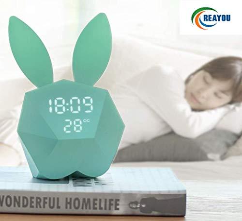 Mignon Lapin LED Veilleuse Lampe de Chevet+réveil fonction intégrée batterie au lithium conduit voix activée Cadeau de Noël pour les enfants,filles,bébé
