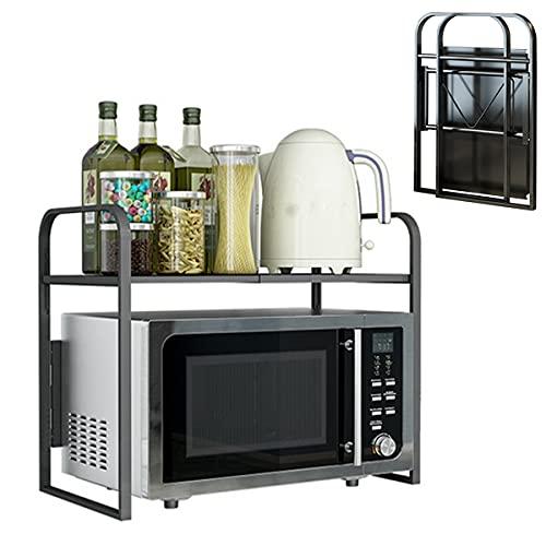 Estantería para microondas plegable y ajustable en longitud de 2 capas, adecuada para el almacenamiento en la cocina (carga máxima es de 50 kg).