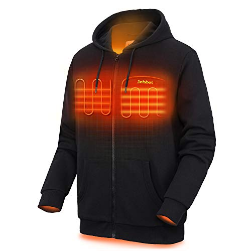 Heated Hoodie for Men and Women Heavyweight Fleece Hooded Sweatshirt (Unisex)(Medium, Black)