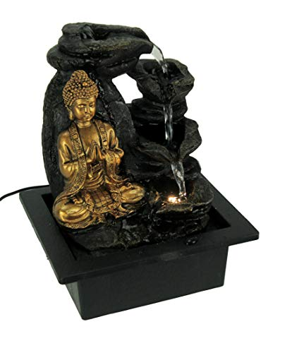 Fantasy Gifts Buddha Greeting and Teaching White LED Lighted Tabletop Fountain