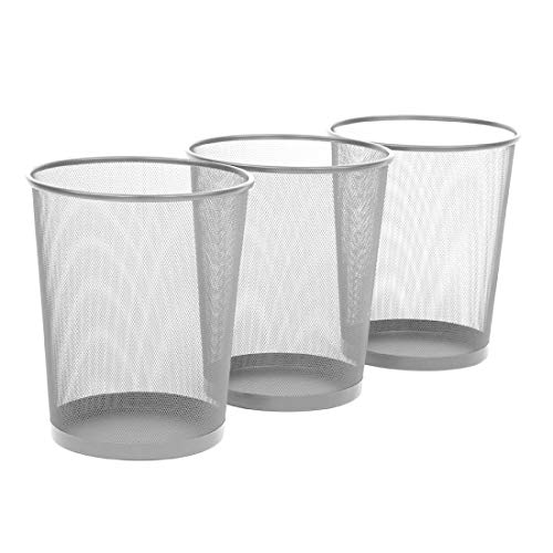 "Seville Classics 3-Pack Round Mesh Wastebasket Recycling Bin, 6 Gal, 12"" Diameter Top x 14"" H, Silver"