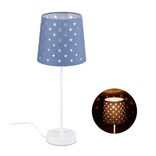 Relaxdays Lámpara de noche infantil, lámpara de mesa para niños y niñas, E14, lámpara de estrella, metal, tela, altura 43 x 16 cm, azul, 10032275_45