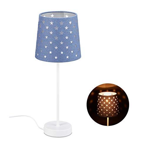 Relaxdays Nachttischlampe Kinder, Tischlampe für Jungen & Mädchen, E14, Sternlampe, Metall, Stoff, HxD 43 x 16 cm, blau