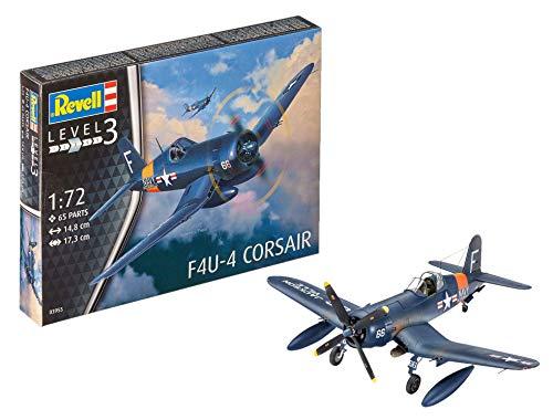 Revell-F4U-4 Corsair Maqueta Avión, 10+ Años, Multicolor, 14,8cm (03955)