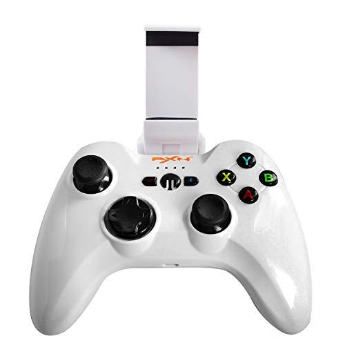 IOS Zertifizierte PXN-6603 Wireless Bluetooth Gamepad Speedy Drahtlos Gaming Spiele Controller Joystick mit Phone Halter für iOS(Weiß)