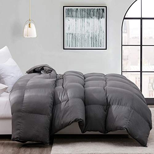 Down Alternative Comforter Queen-Ultra Soft Brushed Microfiber-Hypoallergenic Plush Mircofiber Comforter Duvet Insert 90x90Inches,Grey Checkered Embossing Comforter