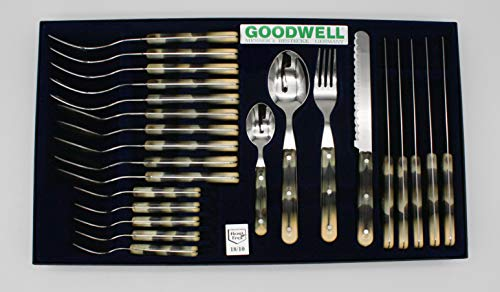 Goodwell Besteck, Messer, Gabel und Löffel Set (24 Teilig) im Etui mit Wellenschliff (Horn)