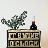 Botellero 'Its Wine O Clock' de madera, 33,5 x 12 x 17 cm, accesorio vintage para botellas, decoración de mesa, botellero de vino