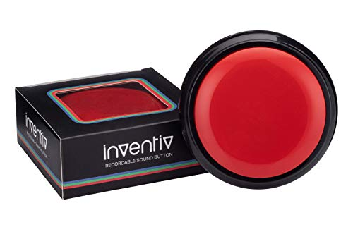 Inventiv 30 Second Custom Recordable Talking Button, Record & Playback Your Own Message, Quality Voice Sound Recorder - 15 Phrase Stickers Included (Red)