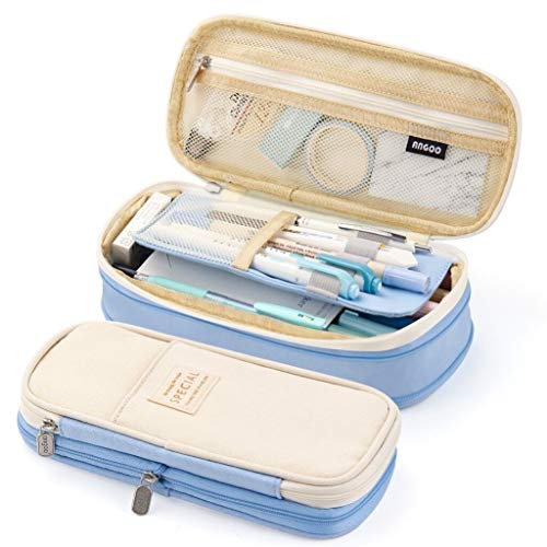 EASTHILL Big Capacity Pencil Pen Case Office College School Large Storage High Capacity Bag Pouch Holder Box Organizer Light Blue