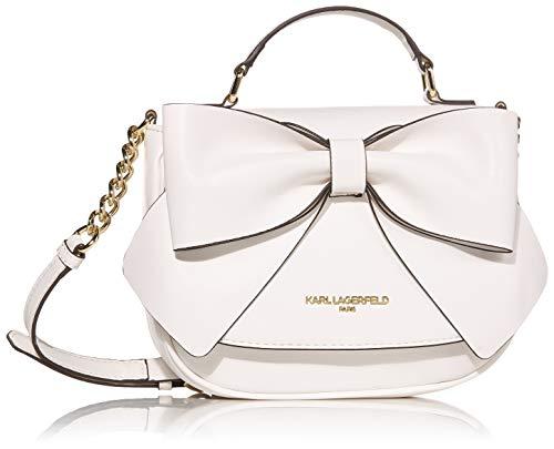 Karl Lagerfeld Paris Damen Bow Flap Kris Fara Crossbody-Tasche aus PU-Leder, mit Schleife, Klappverschluss, Winter-Weiß, Einheitsgröße