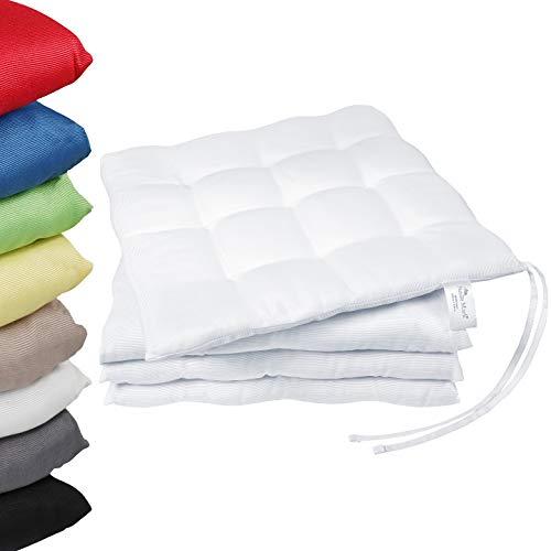 NatureMark 4er Pack Stuhlkissen mit Bändern Gr. 40x40 cm Sitzkissen gefüllt, Weiß