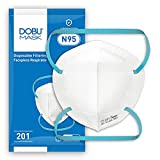 N95 Respirator Mask for Summer, DOBU MASK model 201, NIOSH Certified, 25 masks individual package, Stretchable braided head straps,Medium size, non-oil-based particles