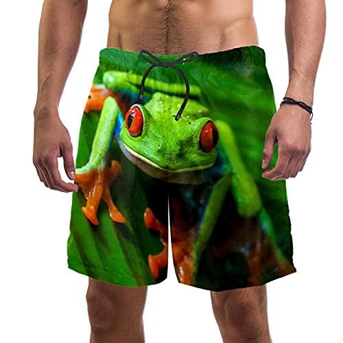YATELI Strand Shorts Quick Dry Herren Shorts,Laubfrosch,Boardshorts mit Mesh-Futter