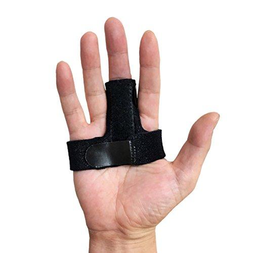 LUSAS 指サポーター ばね指サポーター 指保護 固定 バネ指 腱鞘炎 MP関節 サイズ調整自在 フリーサイズ (ブラック)
