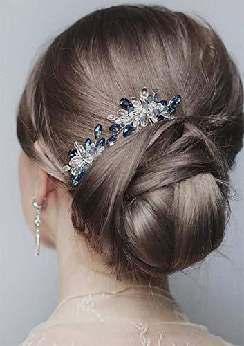 Edary Braut Hochzeit Haarnadeln Silber Blau Perle Braut Haarteile Hochzeit Strass Haarschmuck Perle Braut Haarspangen für Frauen und Mädchen 2 Stück