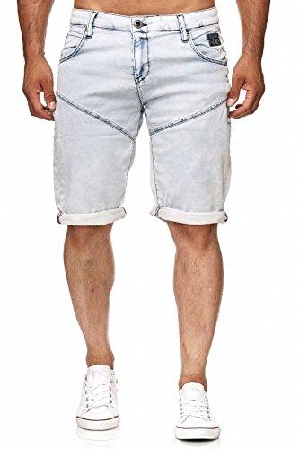 Rusty Neal Kurze Denim Herrenhose Hose Jeans Vintage Destroyed Bermuda Shorts A1-RN-1361MIX, Größe:XL, Farbe:13610 Hellblau