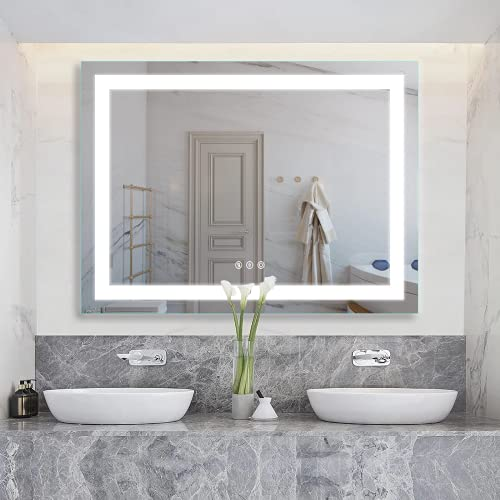 D'amour 48X36 Inch Horizontal&Vertical Wall Mounted LED Lighted Bathroom Mirror, Led Backlit Mirror with Dimmable&Defogger Touch Button, Mirror Lights Color Adjustable, CRI 90, ETL, UL Listed