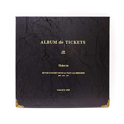 Ticket Stub Organizer - 100 Pockets Leather Ticket Stub Album for Sports Movie Concert Banknote Bill Collection(Black)