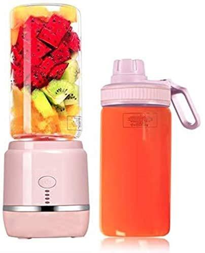 JCCOZ-URG Portable Blender, USB Rechargeable Smart Mini Juicer Blender for Fruits Smoothie Milk Shakes with 2 Juicer Cup, 400Ml 4000Mah JCCOZ-URG (Color : Pink)