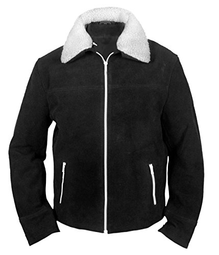 Men's Women's Genuine Leather Black Suede Party and Event Jacket