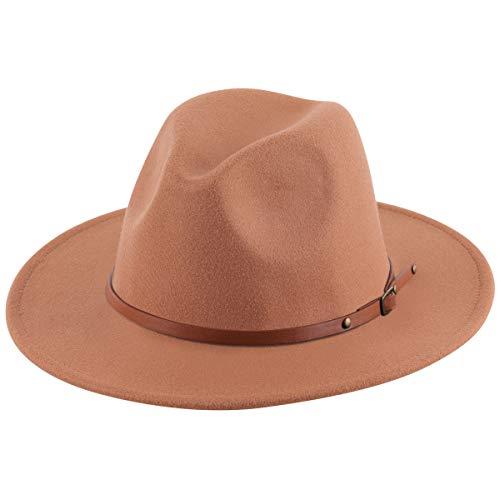 Lanzom Women Lady Retro Wide Brim Floppy Panama Hat Belt Buckle Wool Fedora Hat (X Belt-Khaki, One Size)
